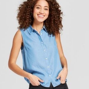 a new day Sleeveless Chambray Button Down Shirt